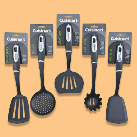 Utensils, Gadgets & Storage - Large selection of unique kitchen tools including mixing spoons, kitchen towels, mitts and measuring cups.