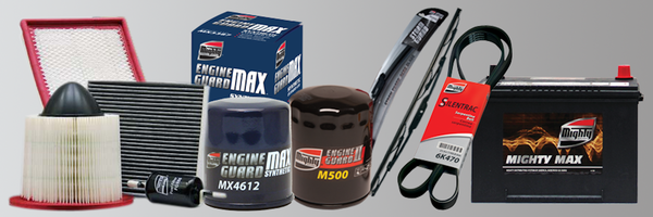 Mighty Auto Parts product offering of filters, windshield wipers, belts and batteries.