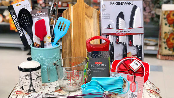 Wide assortment of cookware, bakeware, utensils, gadgets, storage and gourmet food.