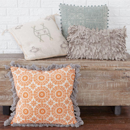 Decorative Pillows- Decorative throw pillows in assorted colors and textures