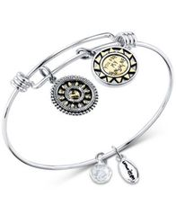 "Image of Unwritten Two-Tone Crystal Accented ""You Make Me Happy"" Sun Charm Adjustable Bangle Bracelet in Stai"