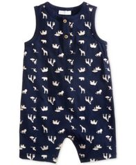 Image of First Impressions Safari-Print Cotton Romper, Baby Boys, Created for Macy's