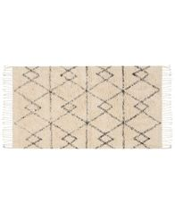 "Image of Nourison Geometric Art 01 Ivory/Charcoal 27"" x 45"" Moroccan Shag Accent Rug"