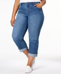 Image of Style & Co Plus Size Cuffed Crop Jeans, Created for Macy's