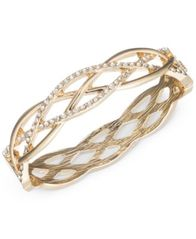 Image of Anne Klein Gold-Tone Braided-Style Pavé Bangle Bracelet, Created for Macy's