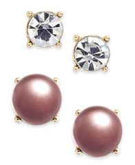 Image of Charter Club Gold-Tone 2-Pc. Set Crystal & Colored Imitation Pearl Stud Earrings, Created for Macy's