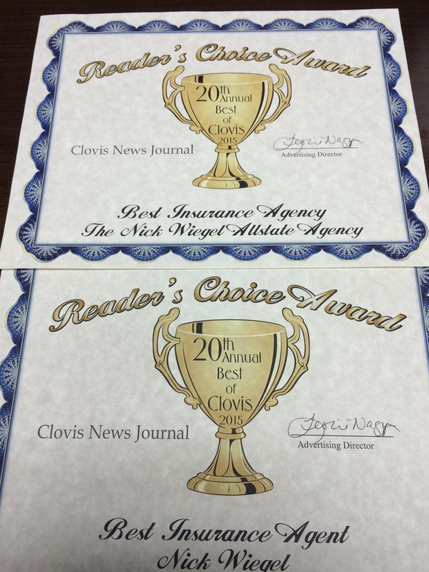 "Nick Wiegel - Best of Clovis ""Insurance Agency"" and ""Insurance Agent"". Thank you Clovis!"