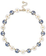 "Image of Charter Club Gold-Tone Enamel Anchor & Star Link Collar Necklace, 17"" + 2"" extender, Created for Mac"