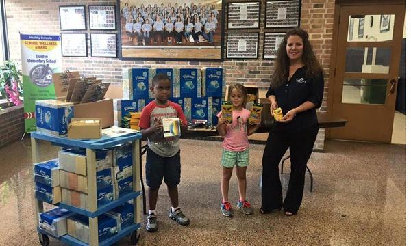 Dropping off school supplies to Dundee Elementary