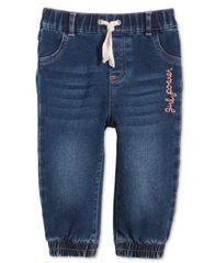 Image of First Impressions Baby Girls Embroidered Jogger Jeans, Created for Macy's