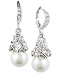 Image of Givenchy Imitation Rhodium Crystal and Imitation Pearl Small Drop Earring