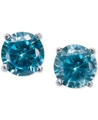 Image of Giani Bernini Blue Cubic Zirconia Stud Earrings in Sterling Silver (2 ct. t.w.)