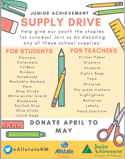 Thomas Patrick - Help support local students and teachers by donating supplies to our Supply Drive for Junior Achievement Portland! We will be collecting items for the remainder of April and the whole month of May.