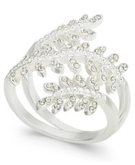 Image of Charter Club Silver-Tone Crystal Leaf Wrap Ring, Created for Macy's