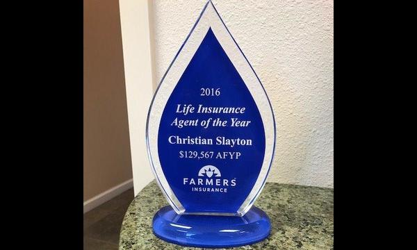 2016 Life Insurance agent of the year.