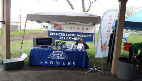 Spencer Lund Agency set up at a local dog show