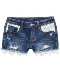 Image of Vanilla Star Crochet-Trim Denim Shorts, Big Girls