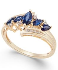 Image of Sapphire (3/4 ct. t.w.) & Diamond (1/10 ct. t.w.) in 14k Gold (Also in Emerald, Tanzanite and Certif