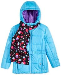 Image of S. Rothschild Belted Puffer Jacket with Dot-Print Scarf, Little Girls (4-6X)