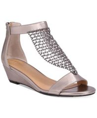 Image of Thalia Sodi Tibby Mesh Embellished Wedge Sandals, Created for Macy's