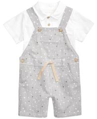 Image of First Impressions 2-Pc. Polo Shirt & Striped Overall Set, Baby Boys, Created for Macy's