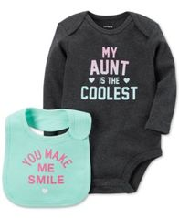 Image of Carter's 2-Pc. My Aunt Is The Coolest Cotton Bodysuit & Bib Set, Baby Girls (0-24 months)
