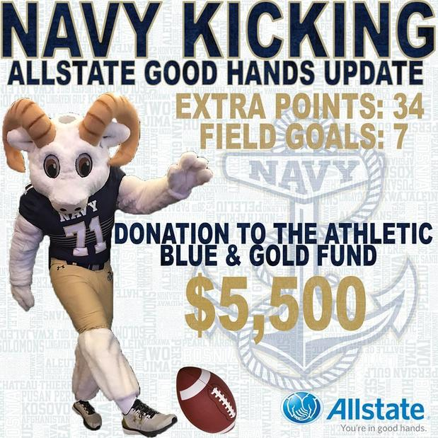 Stace Rader - Navy Kicking with Allstate