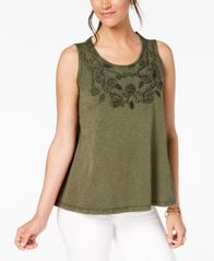 Image of Style & Co Cotton Soutache-Trim Tank Top, Created for Macy's