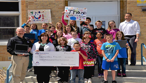 Samantha Krause's 5th grade class outside the Kalkaska Cherry Street School.