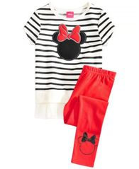 Image of Disney Little Girls 2-Pc. Minnie Mouse Silhouette Top & Leggings Set