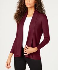 Image of JM Collection Petite Open-Front Ribbed Cardigan, Created for Macy's