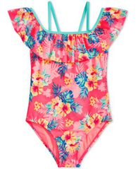 Image of Breaking Waves Big Girls 1-Pc. Printed Flounce Swimsuit