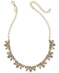 "Image of I.N.C. Gold-Tone Neutral Stone Frontal Necklace, 17"" + 3"" extender, Created for Macy's"