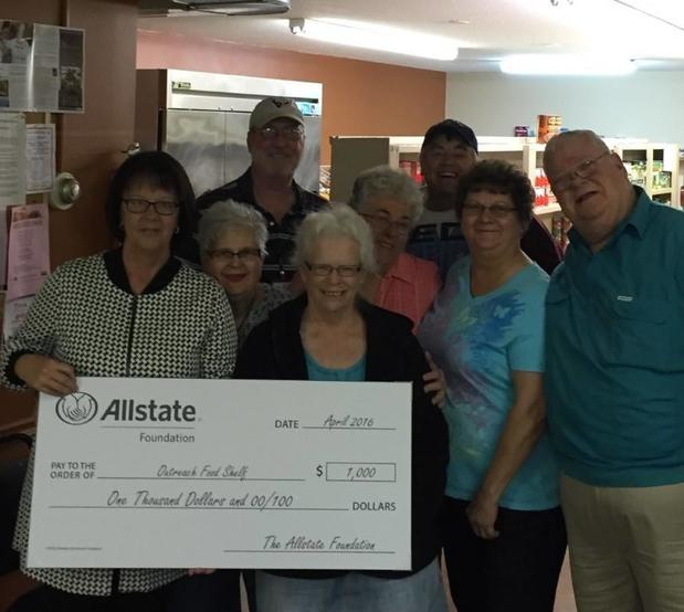Jody Niesen - Allstate Foundation donated $1,000 to the Outreach Food Shelf
