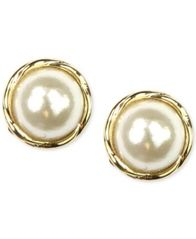 Image of Anne Klein Gold-Tone Glass Pearl Twist Stud Earrings