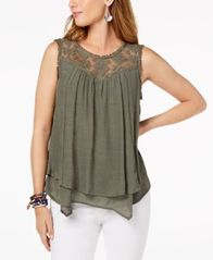 Image of Style & Co Lace-Trim Swing Top, Created for Macy's