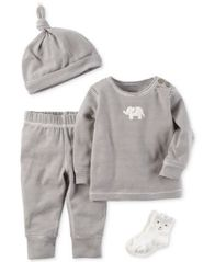 Image of Carter's 4-Pc. Striped Hat, Elephant Top, Pants & Socks Set, Baby Boys & Girls