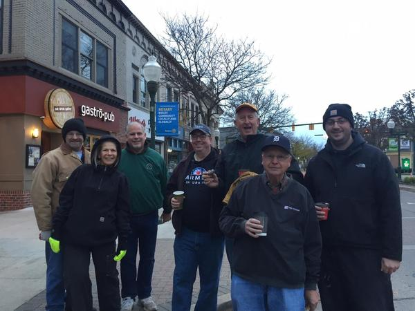 Planting bulbs in downtown Plymouth with the Plymouth Rotary