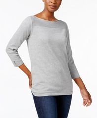 Image of Karen Scott Boat-Neck Cotton Sweater, Created for Macy's