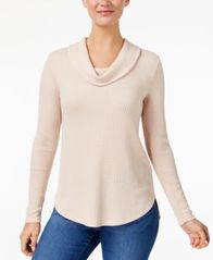Image of Style & Co Cowl-Neck Waffle-Knit Top, Created for Macy's