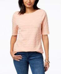 Image of Charter Club Cotton Textured-Stripe Top, Created for Macy's