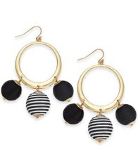 "Image of I.N.C. Large 2.5"" Gold-Tone Wrapped Ball Drop Hoop Earrings, Created for Macy's"