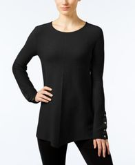 Image of Alfani Ribbed Snap-Detail Sweater, Created for Macy's