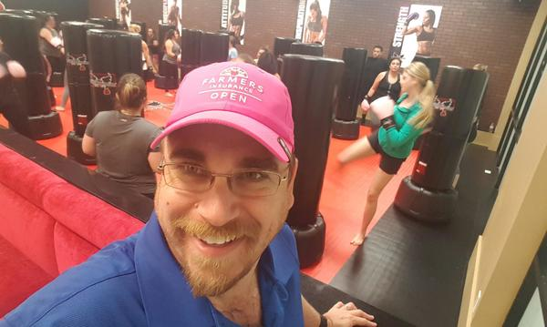Sporting the Farmers® hat at kickboxing