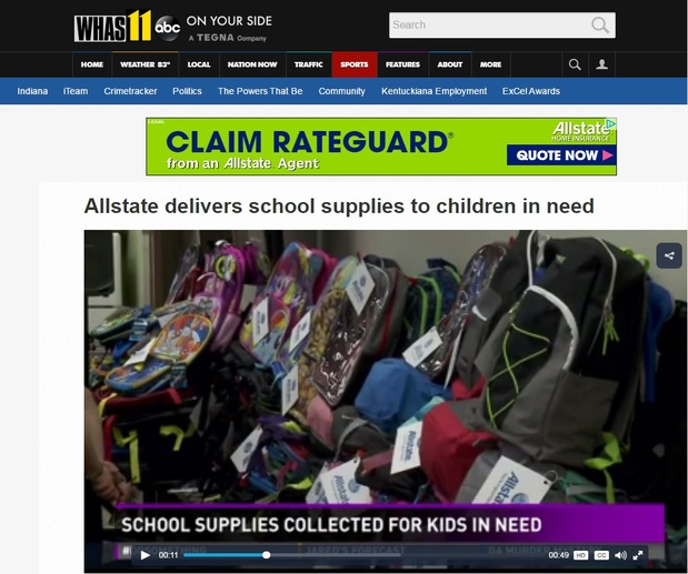 Justin Beasley - Allstate delivers school supplies to children in need News Video