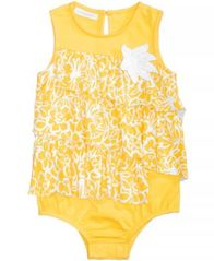 Image of First Impressions Floral-Print Ruffled Cotton Romper, Baby Girls, Created for Macy's