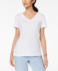 Image of Karen Scott Cotton Grommet-Detail Top, Created for Macy's
