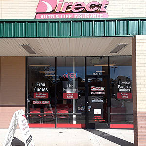 Front of Direct Auto store at 1736 East Little Creek Road, Norfolk