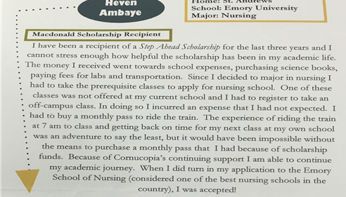 This week, we received a letter from the scholarship recipient saying thank you.