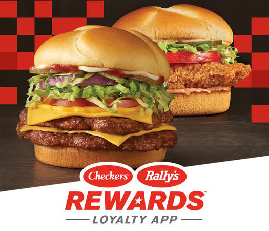 BIG BUFORD AND MOTHER CRUNCHER WITH CHECKERS AND RALLYS REWARDS LOYALTY APP LOGO